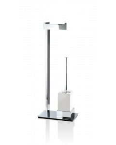 Toiletstandaard Decor Walther met porselein houder met rechthoekige chromen voet